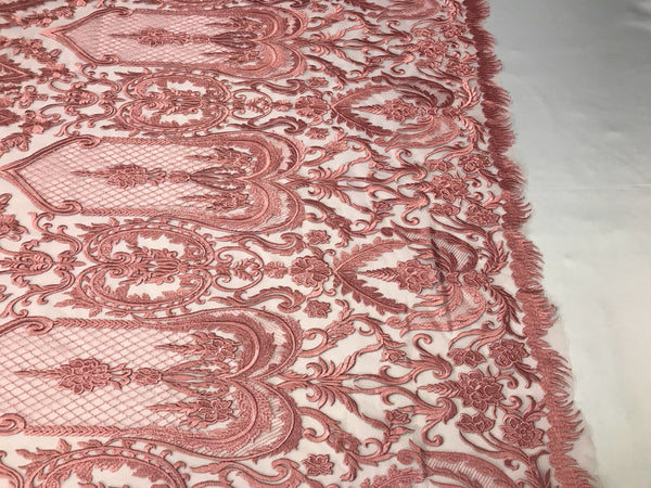 Lace Fabric Guipure - Dusty Rose Bridal Veil Wedding Dress Decoration Embroidered French Lace Guipure Mesh - By The Yard