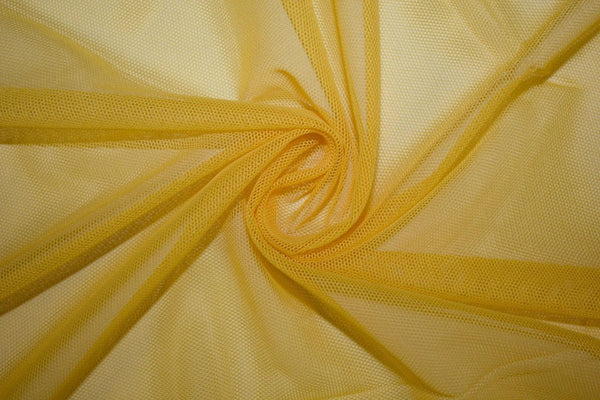 "Solid Power Mesh Fabric Nylon Spandex 60"" wide Stretch Sold by 5 yards GOLD"
