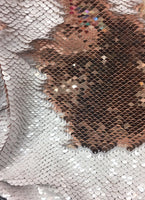 "Mermaid Flip Reversible Sequin Shiny White/shiny Rose Gold 52""/54"" Sold By Yard"