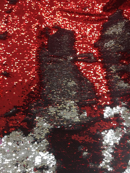 Mermaid Reversible Sequin Shiny Red/shiny Silver On Spandex Fabric Sold By Yard