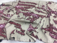 Reversible Sequins Fabric Multicolor Dusty Rose By Yard