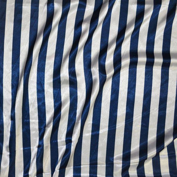 "10 Yards Navy & White Stripe Satin Fabric 60"" Wide Made in USA Seller"