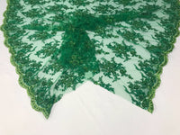 Beaded Fabric - Embroidered Lace Green Hand Embroidered With Precious Stones Sequins Bridal Flower Mesh Dress Wedding By The Yard
