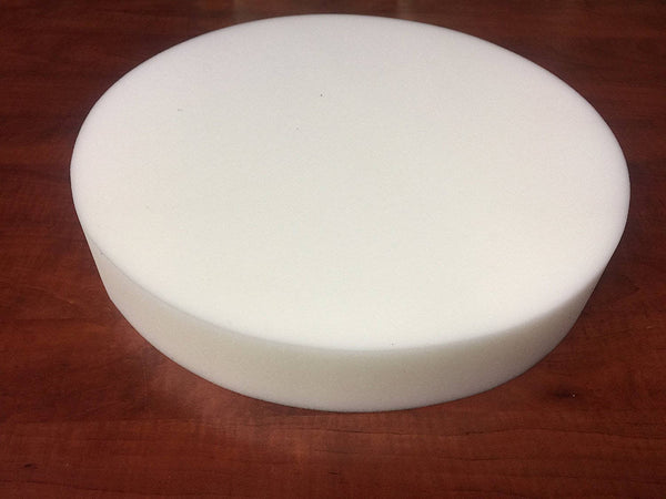 "Round Stool Seat Chair Upholstery Foam Pad Cushion. 14"" Diameter By 3"" High. White Medium Regular Density."