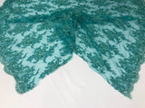 Embroidered Green Teal Hand Embroidered With Precious Stones Sequins Bridal Flower Mesh Dress Wedding By The Yard