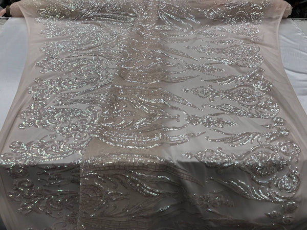 2 Way Stretch Fabric - Pink Embroidered sequins lace Fashion - By The Yard