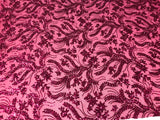 Fuchsia Power Mesh - 4 Way Stretch Fabric Embroidered Sequins Lace Fashion Dress Wedding Decoration By The Yard
