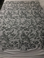 Silver Power Mesh - 4 Way Stretch Fabric Embroidered Sequins Lace Fashion Dress Wedding Decoration By The Yard