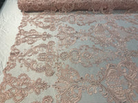 Lace Fabric - Embroidered Sequin Mesh Pink Bridal Wedding Dress By The yard