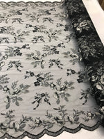 Lace Fabric - Floral/Flower Multi-Color Black Embroidered Mesh For Dress Bridal Veil Wedding Decoration By The Yard