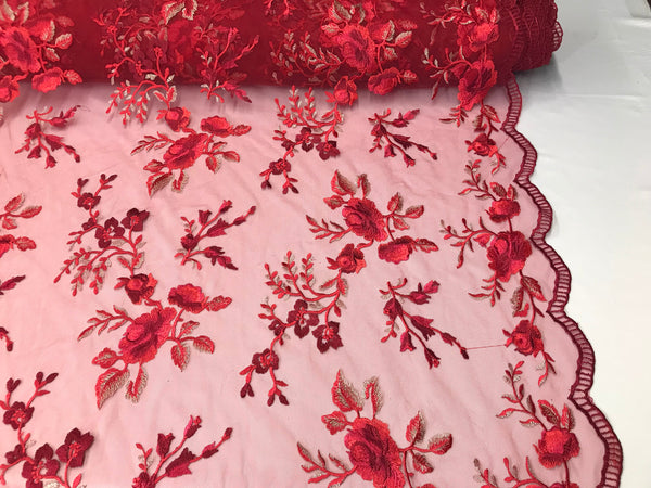 Lace Fabric - Floral/Flower Multi-Color Red Embroidered Mesh For Dress Bridal Veil Wedding Decoration By The Yard