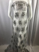 Lace Fabric - Silver-Gray Gaviota Design Embroider Beaded Mesh Dress Wedding Decoration Bridal Veil Nightgown By The Yard