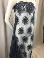 Lace Fabric - Navy Gaviota Design Embroider Beaded Mesh Dress Wedding Decoration Bridal Veil Nightgown By The Yard