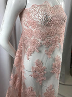 Beaded Fabric - Pink Design Embroidered Mesh Dress Top Wedding Decoration Veil Nightgown By The Yard