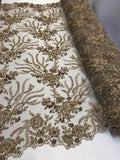 Embroidered Beaded Fabric - Taupe Multi-Color Floral Bridal Lace Flower Mesh Dress For Wedding Decoration By The Yard