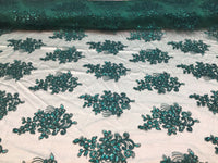 Green Lace Fabric - Corded Flowers Embroidery With Sequins For Wedding Dress Bridal Veil By The Yard