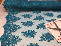 Teal Lace Fabric - Corded Flowers Embroidery With Sequins For Wedding Dress Bridal Veil By The Yard