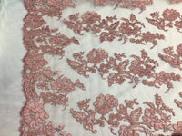 Embroidered Lace fabric - Dusty Rose Flower/Floral Corded Mesh Bridal Wedding Dress By The Yard