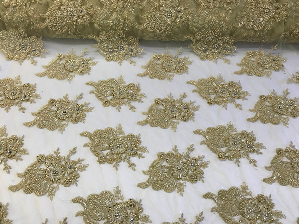 Gold Bridal Beaded - Hand Embroidered With Basins And Diamonds For Veil Mesh Dress Top Wedding Decoration By The Yard