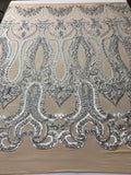 Gray 4 Way Stretch Fabric By The Yard Sequins Fabric Embroidery Nude Power Mesh Dress Top Fashion Prom Wedding Lace Decoration