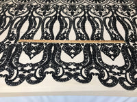 Black 4 Way Stretch Fabric By The Yard Sequins Fabric Embroidery Nude Power Mesh Dress Top Fashion Prom Wedding Lace Decoration
