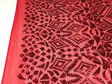 Sequins Fabric - Red 4 Way Stretch Embroider Power Mesh Dress Top Fashion Prom Wedding Decoration By The Yard