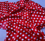 Red/white 1/2inch Polka Dot Silky/soft Charmeuse Satin Fabric.