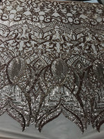 4 Way Stretch Sequins Fabric By The Yard - Rose Gold Embroidered Mesh Dress Top Fashion For Bridal Veil Wedding Decoration