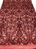 4 Way Stretch Fabric Sequins By The Yard - Burgundy Embroidered Mesh Dress Top Fashion For Bridal Veil Wedding Lace Decoration