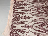 4 Way Stretch Fabric Sequins By The Yard - Pink-Dusty Rose Embroidered Mesh Dress Top Fashion For Bridal Veil Wedding Lace Decoration