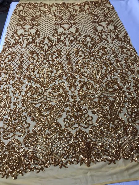 4 Way Stretch Fabric Sequins By The Yard - Gold Embroidered Mesh Dress Top Fashion For Bridal Veil Wedding Lace Decoration