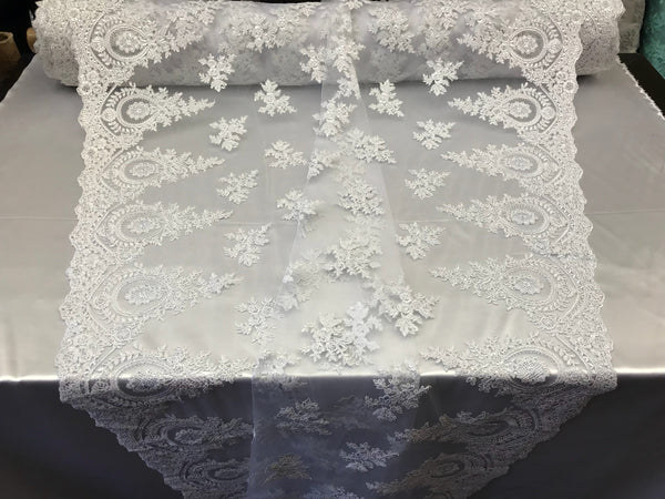 Lace fabric By The Yard - White Embroidred Corded Mesh Flower-Floral Bridal Veil Wedding Dress