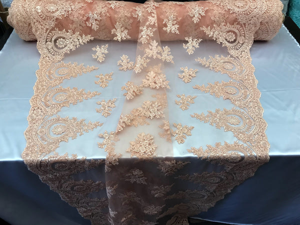 Lace fabric By The Yard - Lt peach Embroidred Corded Mesh Flower-Floral Bridal Veil Wedding Dress