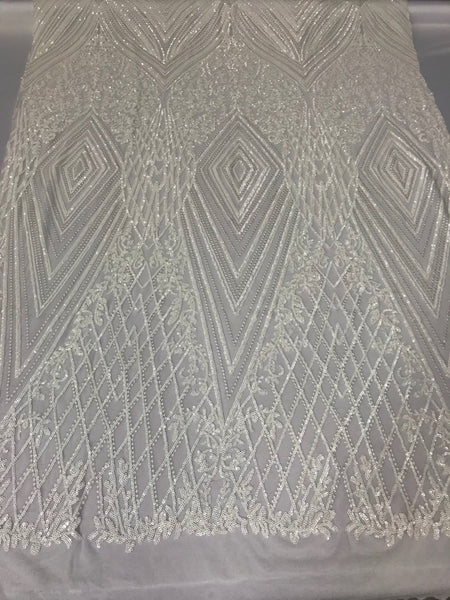 4 Way Stretch Fabric - White Embroidered Sequins Lace Fashion Drees Bridal Veil Wedding Decoration By The Yard