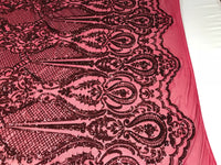 Sequins Fabric 4 way Stretch - Burgundy Embroidered Mesh Lace For Dress Top Fashion Bridal Wedding Decoration By The Yard