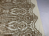 Sequins Fabric 4 way Stretch - Gold Embroidered Mesh Lace For Dress Top Fashion Bridal Wedding Decoration By The Yard