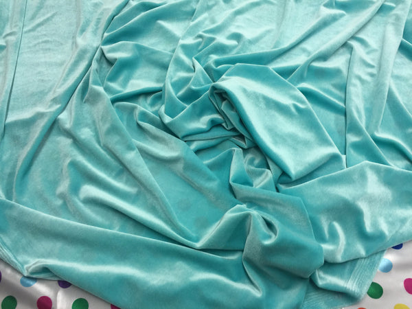 Stretch Velvet Fabric Aqua Fabric Velvet Fabric By The Yard Sewing Fabric