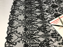 Load image into Gallery viewer, Embroicery Lace Fabric - Black Tulle Mesh Guipure Bridal Veil Wedding Dress Decoration French Lace Guipure By The Yard