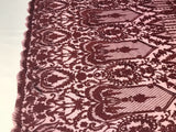 Lace Fabric Guipure - Burgundy Bridal Veil Wedding Dress Decoration Embroidered French Lace Guipure Mesh - By The Yard