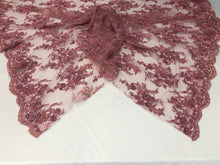 Load image into Gallery viewer, Beaded Fabric - Embroidered Lace Dusty Rose Hand Embroidered With Precious Stones Sequins Bridal Flower Mesh Dress Wedding By The Yard