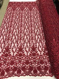 Bridal Veil - Flower Beaded Fabric - By The Yard Burgundy Lace Beads For Mesh Dress Top Wedding Decoration