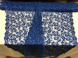 Royal Blue Lace Fabric - By THe Yard Bridal Veil Corded Flowers Embroidery With Sequins For Wedding Dress