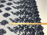 Embroidered Beaded - Navy Guipure Lace Mesh Hand Embroidered With Precious Stones Bridal Veil Flower Mesh Dress Wedding By The Yard