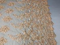 Embroidered Beaded - Peach Guipure Lace Mesh Hand Embroidered With Precious Stones Bridal Veil Flower Mesh Dress Wedding By The Yard