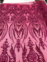 Load image into Gallery viewer, Fuchsia 4 Way Stretch Fabric - Sequins Fabric Embroider Power Mesh Dress Top Fashion Prom Wedding Lace Decoration By The Yard