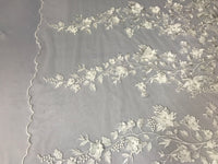 Bridal Lace Fabric - Hand Embroidered Flower 3D Pearls Ivory For Veil Mesh Dress Top Wedding Decoration By The Yard
