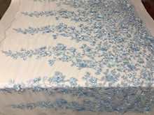 Load image into Gallery viewer, Bridal Lace Fabric - Hand Embroidered Flower 3D Pearls Light Blue For Veil Mesh Dress Top Wedding Decoration By The Yard