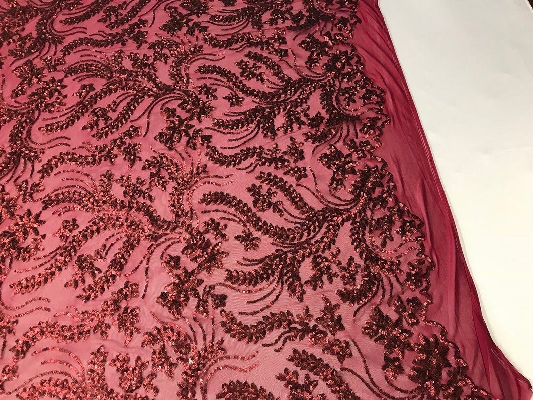 Burgundy Power Mesh - 4 Way Stretch Fabric Embroidered Sequins Lace Fashion Dress Wedding Decoration By The Yard