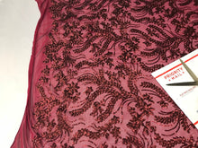 Load image into Gallery viewer, Burgundy Power Mesh - 4 Way Stretch Fabric Embroidered Sequins Lace Fashion Dress Wedding Decoration By The Yard