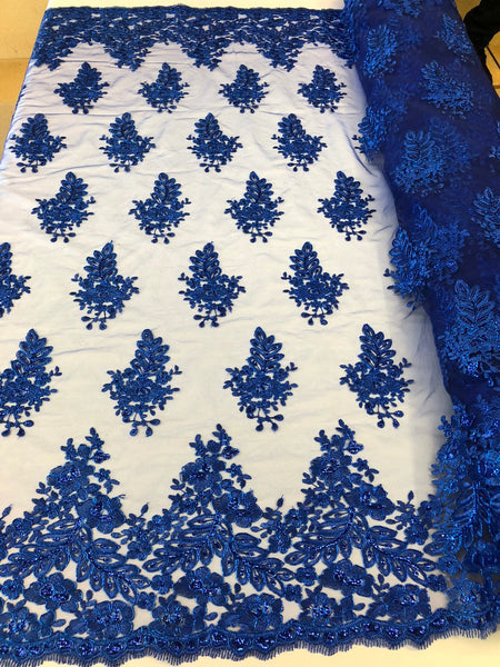 Royal Blue Lace Fabric - Corded Flowers Embroidery With Sequins For Wedding Dress Bridal Veil Sold By The Yard